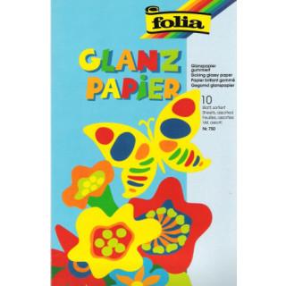 Glanzpapier gummiert 10 Blatt sortiert