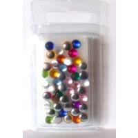 Acryl - Halbperlen gefrostet 6mm bunt gem.