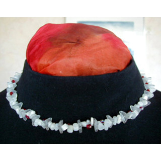 Halskette Bergkristall, Mondstein, Glasperle rot 43 cm lang