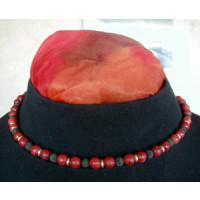 Halskette  Schaumkoralle, Lava u. Silberringe 42 cm lang