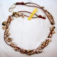 Halskette Muscheln Lederband rot 60 cm lang