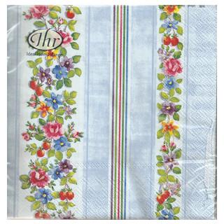 Serviette Streifen und Blumen blau
