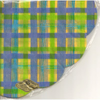 Jap Serviette Exquisit rund karo blau/gruen/gelb