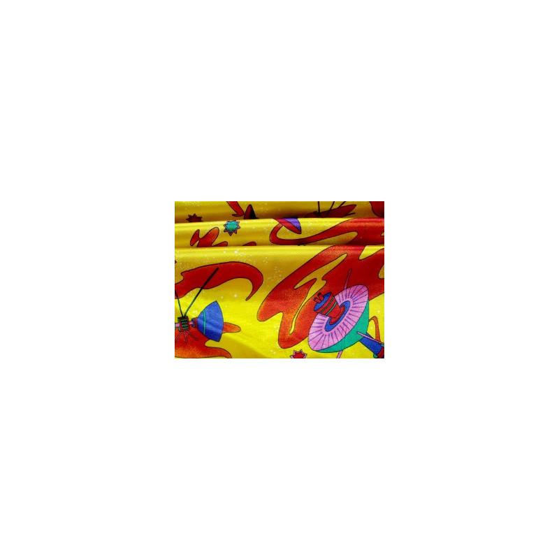 Fasching Baumwolle (Mischung) Kettsatin gelb/bunt / Meterware