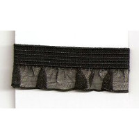 El. Rueschenband Emma 11mm schwarz