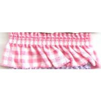 El. Rueschenband Vichy Karo 19mm  rosa/weiss