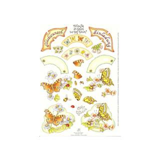 3D Bogen Le Suh A4, Schmetterlinge Einladung