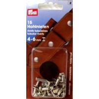Hohlnieten 4-6 mm SB 15 Stück silber