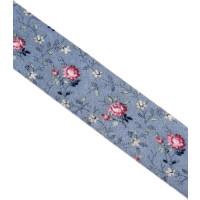 Schrägband Blumen gefalzt 100 % Co 40/20 mm hellblau
