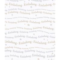 Einladung 250g/A4 Schriftzug gold/silber