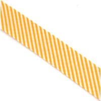 Schrägband gefalzt 100% Co 20/10 mm Streifen gelb/weiss