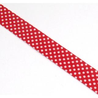 Schrägband gefalzt 100% Co 30/15 mm kl. Punkte rot/weiss