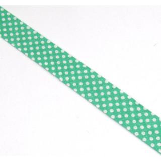 Schrägband gefalzt 100% Co 30/15 mm kl. Punkte grün/weiss