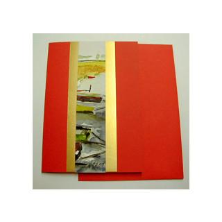 Aquarellkarte A6 h-rot 1 Landschaft
