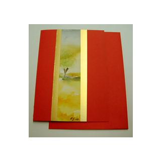 Aquarellkarte A6 h-rot Landschaft