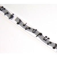 Notenband/Borte weiss/schwarz 10mm