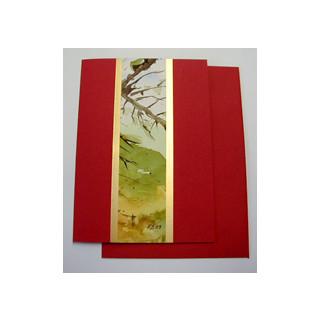 Aquarellkarte A6 rot Landschaft