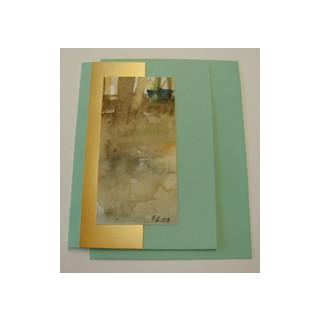 Aquarellkarte A6 türkis/gold Abstrakt