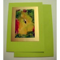 Aquarellkarte A6 apfelgruen/gold Abstrakt