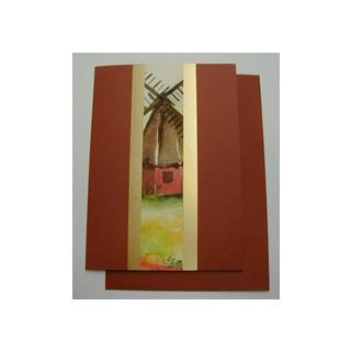 Aquarellkarte A6 rost/gold Windmuehle