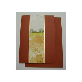 Aquarellkarte A6 rost/gold Landschaft