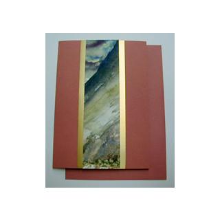 Aquarellkarte A6 fuchsia/gold Abstrakt