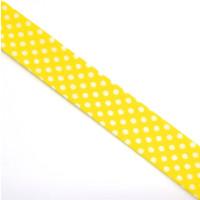 Schrägband gefalzt 100% Co 30/20 mm Punkte gelb/weiss