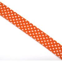Schrägband gefalzt 100% Co 30/20 mm Punkte orange/weiss