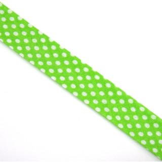 Schrägband gefalzt 100% Co 30/20 mm Punkte grün/weiss