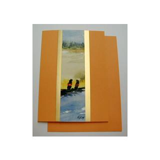 Aquarellkarte A6 mandarine/gold Landschaft