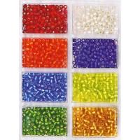 Rocailles Perlen-Sortiment gefr. D= 4 mm / 60g Silbereinzug
