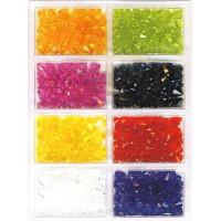 Acrylfacettenperlen-Sortiment, D= 3-4-5-6-8 mm / ca.25g 8...