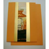 Aquarellkarte A6 mandarine/gold Abstrakt