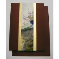 Aquarellkarte A6 bordeaux/gold Abstrakt