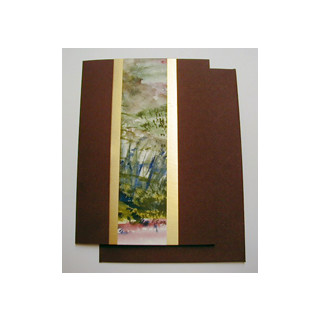 Aquarellkarte A6 bordeaux/gold Landschaft