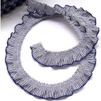 Elast. Rüschen Abschlußband 13 mm blauweiss...