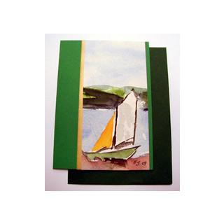 Aquarellkarte A6 gruen/gold Landschaft