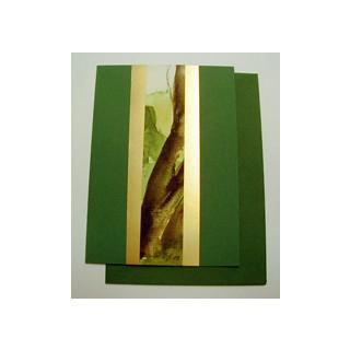 Aquarellkarte A6 dkl. gruen/gold Landschaft