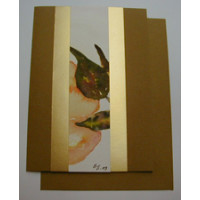 Aquarellkarte A6 dkl. goldocker/gold Abstrakt