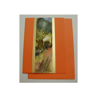 Aquarellkarte A6 orange/gold Landschaft