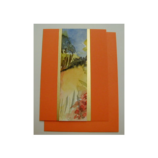 Aquarellkarte A6 orange/gold Landschaft