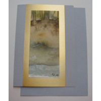 Aquarellkarte A6 azur/gold Abstrakt