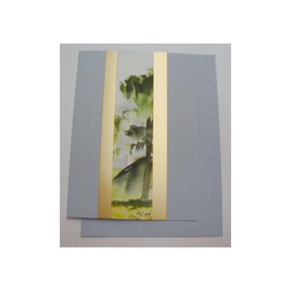 Aquarellkarte A6 azur/gold Landschaft