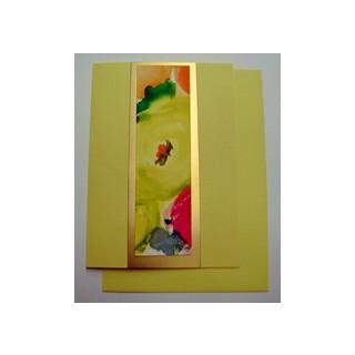 Aquarellkarte A6 zitrone /gold Abstrakt