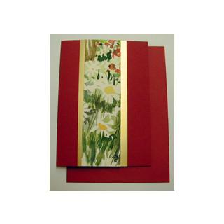 Aquarellkarte A6 rot/gold Blumen