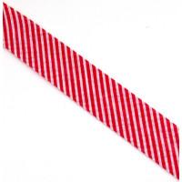 Schrägband gefalzt 100% Co 20/10 mm Streifen rot/weiss