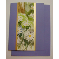 Aquarellkarte A6 flieder/gold Blumen
