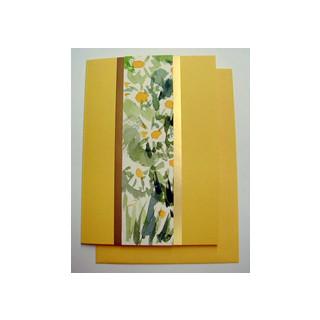 Aquarellkarte A6 sonnengelb/gold Blumen