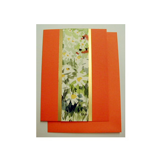 Aquarellkarte A6 orange/gold Blumen