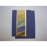 Aquarellkarte A6 blau/gold Abstrakt
